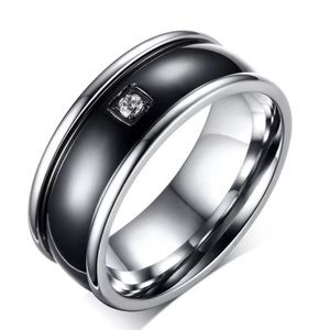 Black Stainless Steel Band  Ring with Crystal 6